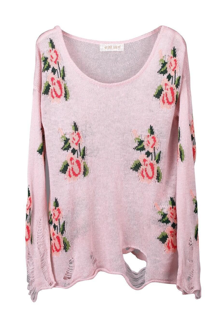 Knitted Floral Print Jumper