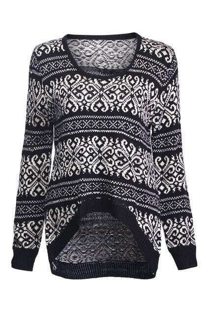 Knitted Abstract Pattern Print Black Jumper