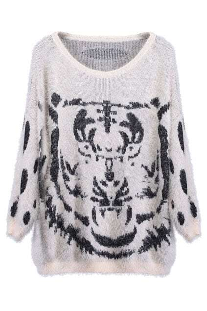 Knitted Tiger Print Nude Jumper