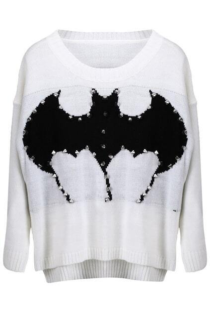 Knitted Bat Print Rivet White Jumper