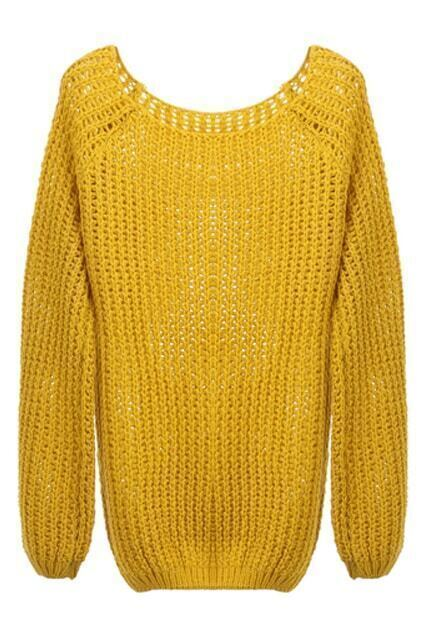 Vertical Slim Cable Knit Yellow Jumper