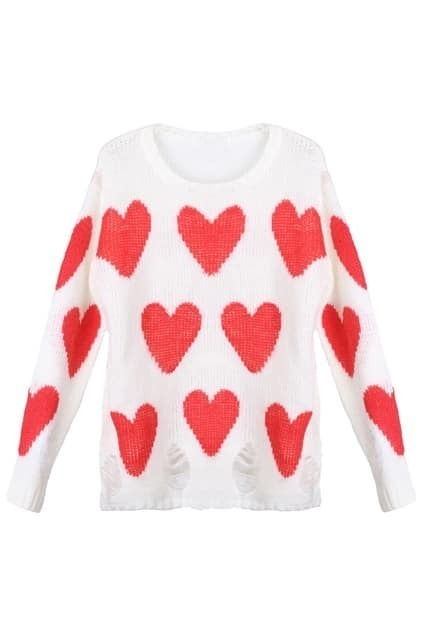Knitted Heart Print Distressed White Jumper