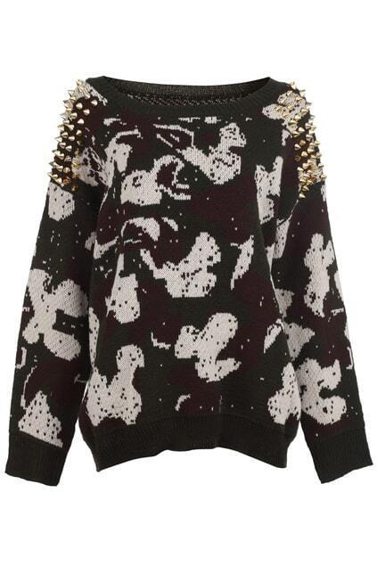 Abstract Print Rivets Embellished Army-green Jumper
