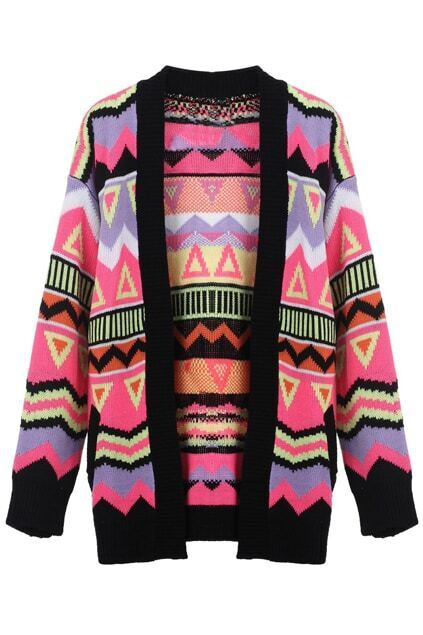 Contrast Color Geometric Print Cardigan