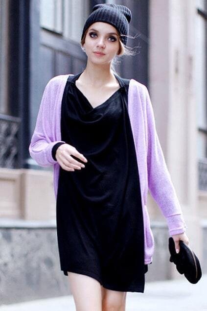 V-neck Front Arc Hem Purple Cardigan