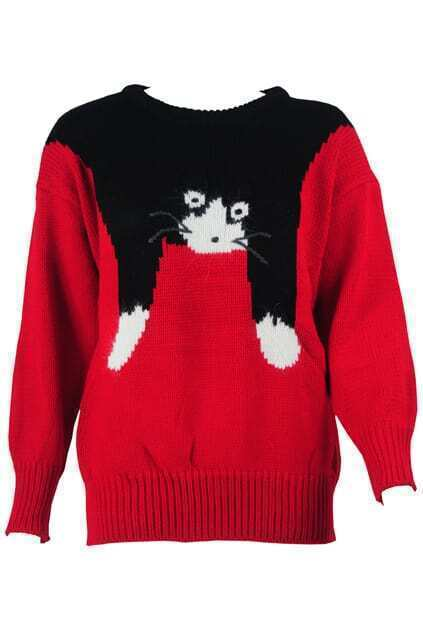 Loose Lazy Cat Embroidery Black Jumper