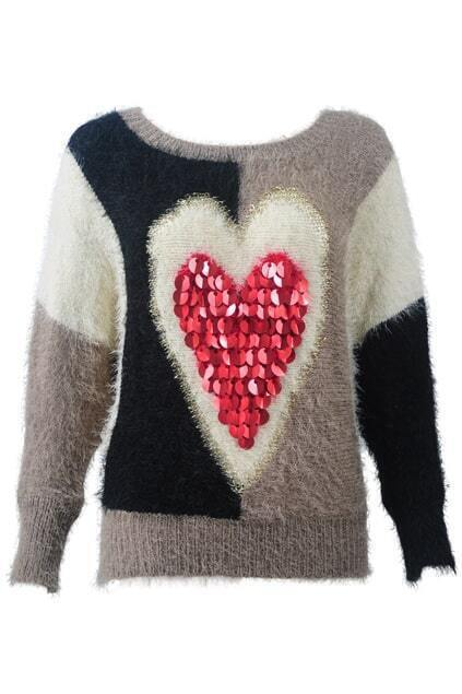 Sequined Heart-shaped Batwing-sleeve Jumper