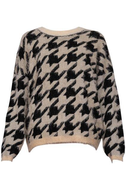 Knitted Houndstooth Print Apricot-black Jumper