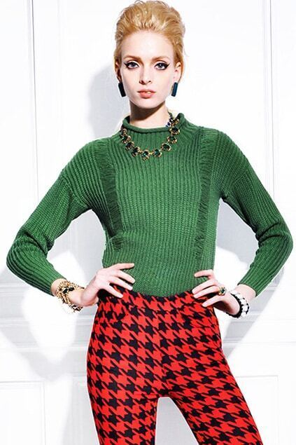 Asymmetric Green Turtleneck Jumper