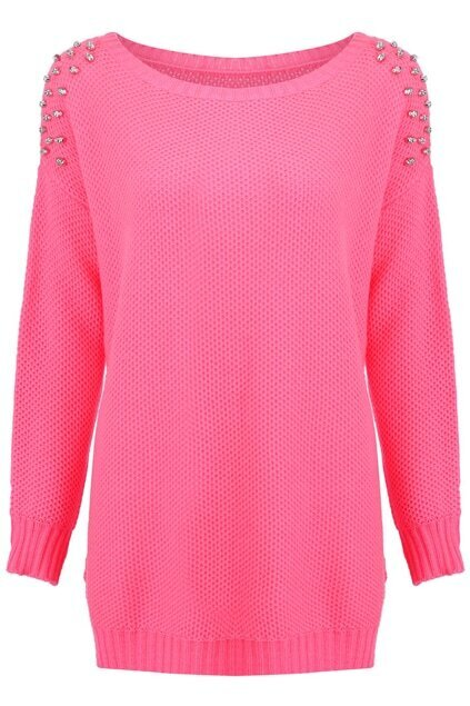 Skull Riveted Pink Jumper