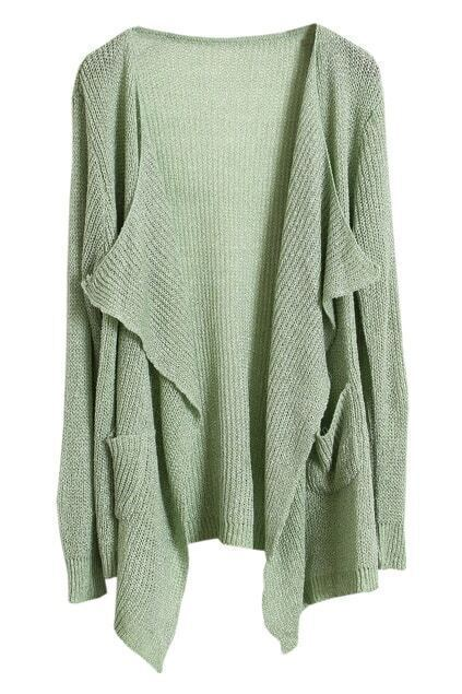 Open Front Spun Gold Green Cardigan