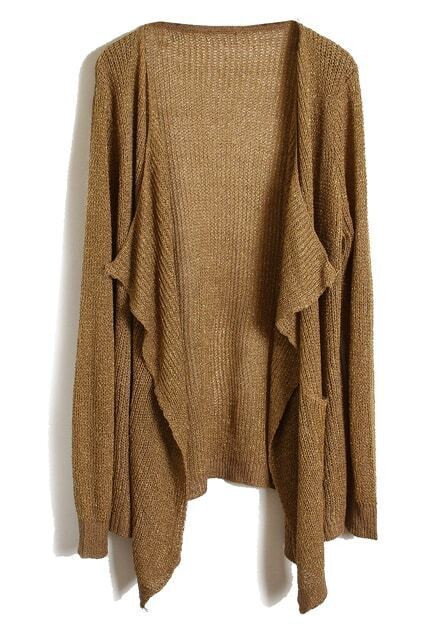 Open Front Spun Gold Coffee Cardigan