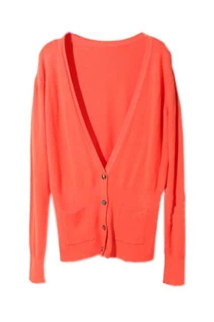 Long Puff Sleeves Orange Cardigan