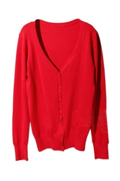 Leather Spliced Red Cardigan