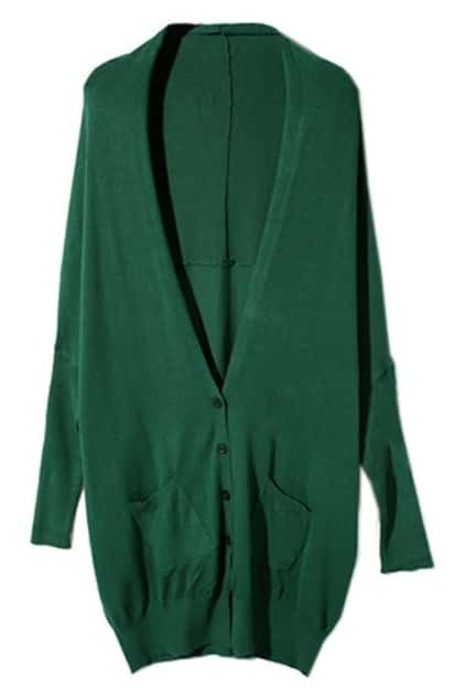 Batwing Sleeves Jade-Green Cardigan