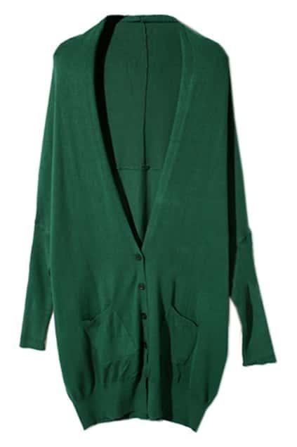 Batwing Sleeves Jade-Green Cardigan