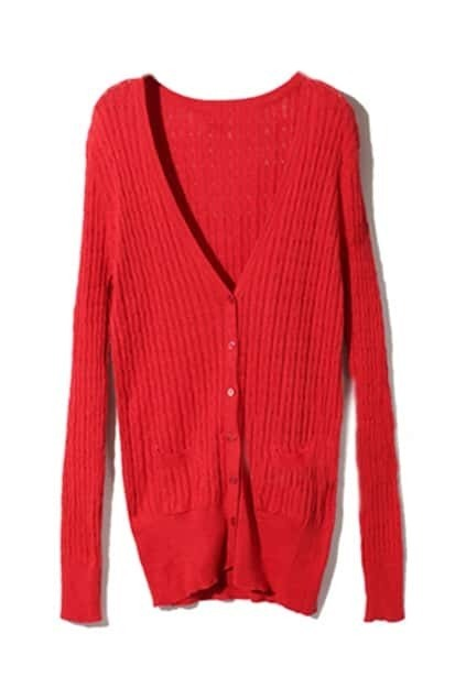 V-neck Single-breasted Red Cardigan