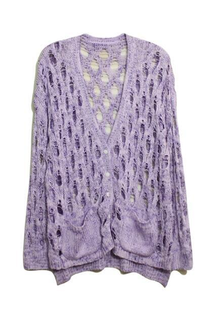 Hollow V-shaped Neck Purple Cardigan