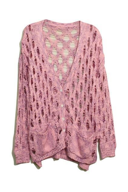 Hollow V-shaped Neck Pink Cardigan