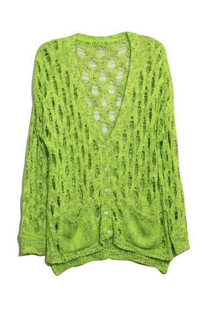 Hollow V-shaped Neck Green Cardigan