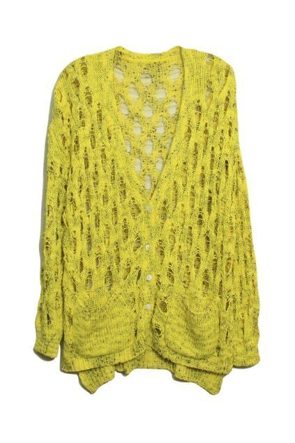 Hollow V-shaped Neck Yellow Cardigan