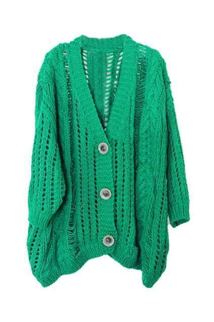 Hollow Out Oversized Green Cardigan