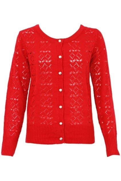 Hook Hollowed Red Cardigan