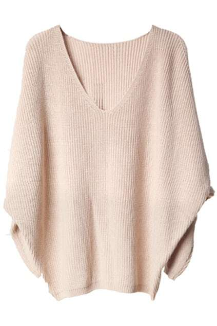 V-shaped Neck Bat-wing Sleeve Khaki Jumper