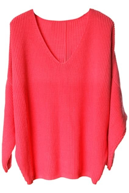 V-shaped Neck Bat-wing Sleeve Watermelon-red Jumper