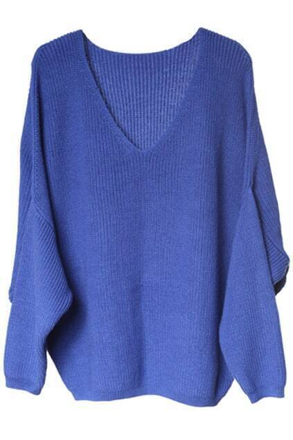 V-shaped Neck Bat-wing Sleeve Royalblue Jumper