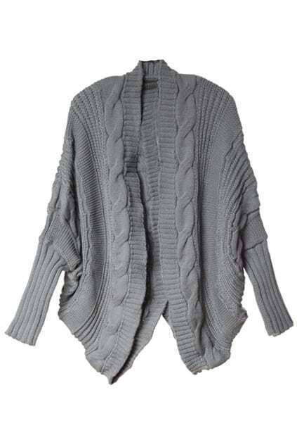 Oversized Cable Knit Grey Cardigan