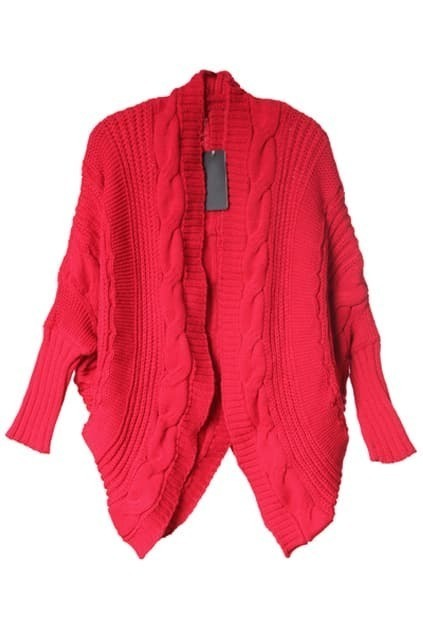 Oversized Cable Knit Red Cardigan