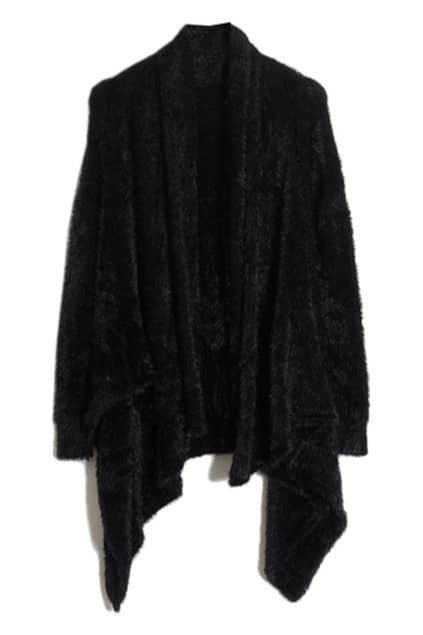 Chic Style Black Asymmetric Cardigan