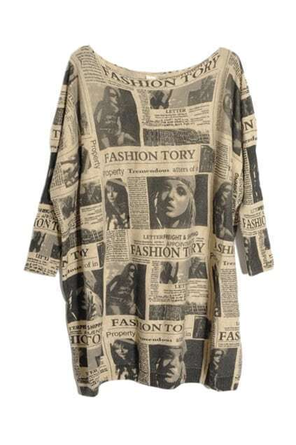 Oversized Newspaper Batwing Cardigan