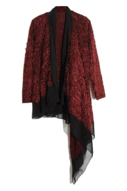 Occident Style Asymmetric Tassel Red Cardigan
