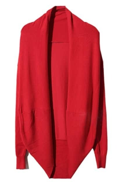 Asymmetric Neckline Red Cardigan