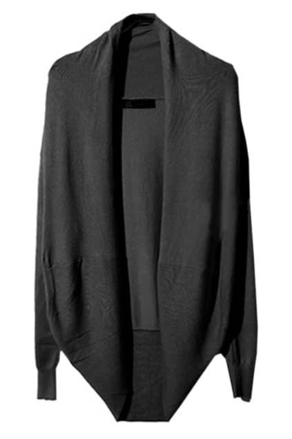 Asymmetric Neckline Black Cardigan
