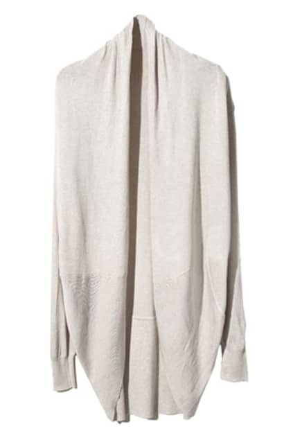 Asymmetric Neckline Cream Cardigan