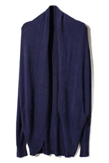 Asymmetric Neckline Dark-Blue Cardigan