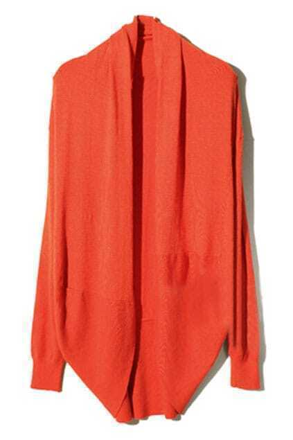 Asymmetric Neckline Orange Cardigan