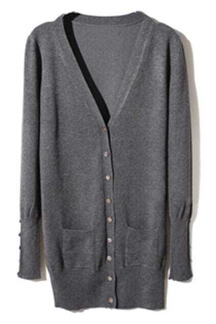 Shell Button Dark-Grey Cardigan