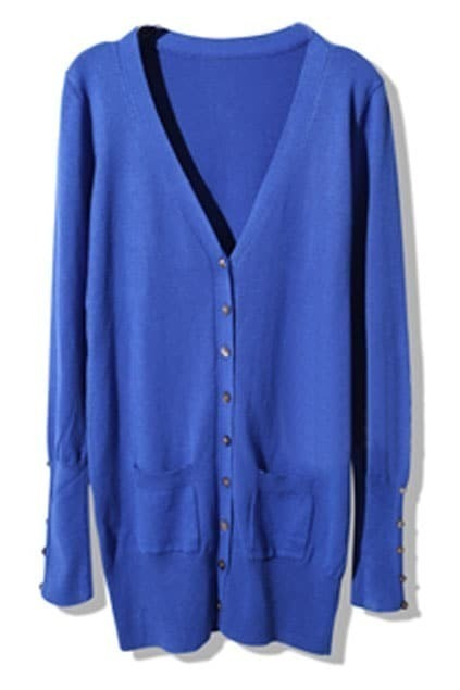Shell Button Blue Cardigan