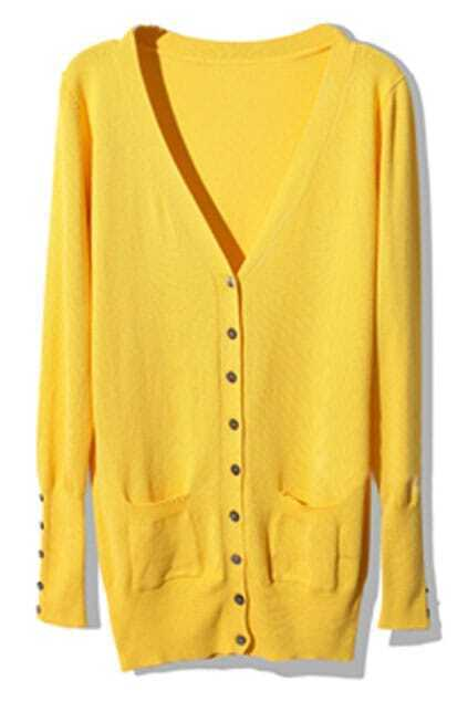 Shell Button Yellow Cardigan