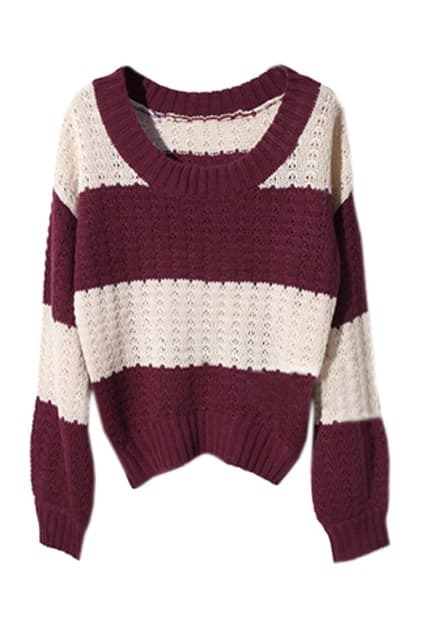 Stripes Loose Style Red Jumper