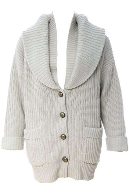 Lapel Cream Button Knitwear