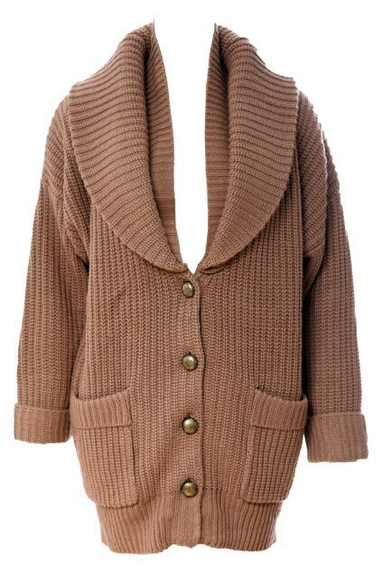 Lapel Brown Button Knitwear