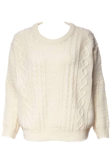 Retro Style Cream Knitwear Sweater