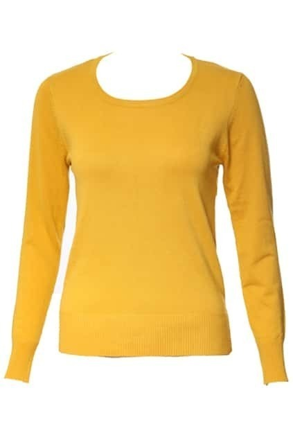 Thin Sqare-cut Collar Yellow Sweater