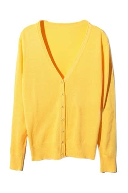 V-neck Single-breasted Yellow Cardigan
