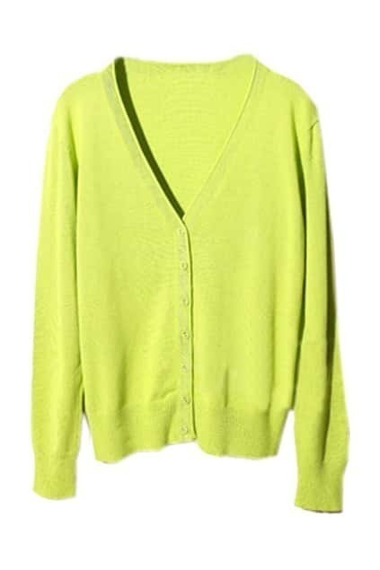 V-neck Single-breasted Green Cardigan